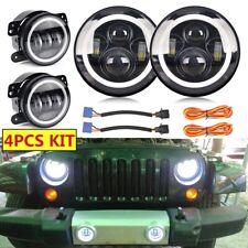 """DOT LED 7"""" Round Headlight + Fog Light Kit Combo For Jeep Wrangler JK 2007-2018"""