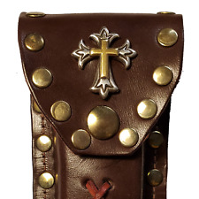 Buck 110 Leather Knife Case - Gold and Silver Cross (Brown)