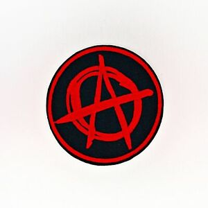 Anarchist Patch — Iron On Badge Embroidered Motif — A Red Black Anarchy