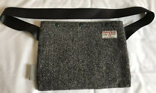 Soigneur Harris Tweed Cycling Musette Bag Satchel Grey Black Herringbone
