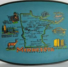Vintage Minnesota Mid Century Souvenir Tray Platter Plate Blue State Oval