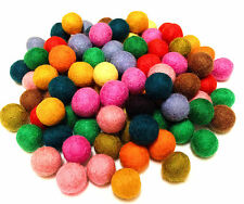 Yarn Place Felt Wool Felted Balls 100 Pieces Multi Color 10 mm Mixed Color