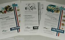 1952 Air France advertisements x3, Paris, pilots, Super Connstellation