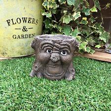 Green Man Face Tree Trunk Stump Herb Flower Planter Garden Plant Bucket Pot C