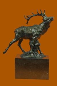 Signed Original Male Elk Mountain Deer Caribou Hunter Bronze Sculpture Figurine