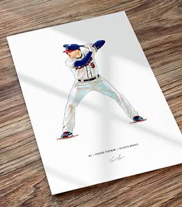 Freddie Freeman Atlanta Braves Baseball Illustrated Print Poster Art