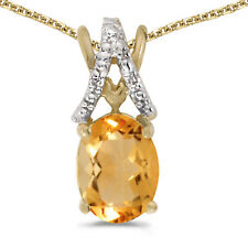 """10k Yellow Gold Oval Citrine and Diamond Pendant With 16"""" Chain"""