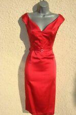 Size 18 Red Pencil Wiggle Galaxy Dita 40s 50s Cocktail Evening Satin Dress US 16
