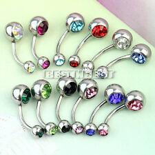12 Pcs Multicolore Bijoux Corps Ventre Piercing Strass Cristal Anneau De Nombril