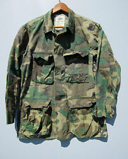 Vintage Camo Jacket Shirt Jungle Camouflage Hunting Military ERDL Short Small
