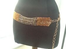 Tie On Waist Brown Beaded Belt