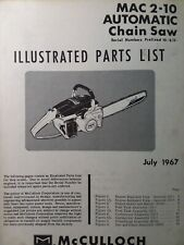Mcculloch Chain Saw Mac 2 10 Automatic Parts Manual 2 Cycle Gas Chainsaw 1967