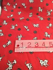 """Red Dalmatian Quilt Fabric Dogs White Black 18"""" Cotton"""