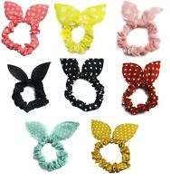 Bunny Ears Poka Dot Scrunchie Hair Band Elastic Ponytail School Accessories