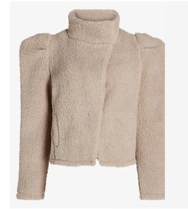 NEW Express Teddy Jacket Sweater Puff Sleeves Beige Medium
