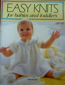 VINTAGE 80S BOOK~EASY KNITS FOR BABIES AND TODDLERS~JUMPERS~DRESS~BOOTEES~3MT-2Y