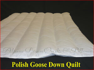 KING SIZE QUILT  95% POLISH GOOSE DOWN 3 BLANKET WARMTH QUILT 100% COTTON COVER
