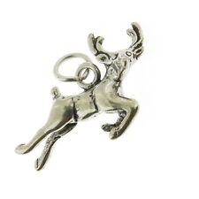 925 Sterling Silver Leaping Reindeer Charm Made in USA