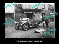 OLD POSTCARD SIZE PHOTO OF NSW AMBULANCE SERVICE TRAINING EXERCISE 1923
