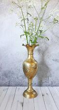 More details for vintage indian etched leaves tall brass vase | large vase | vintage home decor
