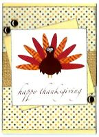 Turkey Happy THANKSGIVING Greeting Card - Handmade A2 size