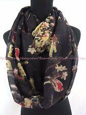 US SELLER-scarves for sale vintage birds branch floral infinity scarf