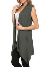 Lady Sleeveless Waistcoat Open Cardigan Jacket Coat Top Blouse Waterfall Vest NR