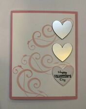 Card Kit Set Of 4 Stampin Up Valentine's Day Silver Hearts, Flourishes, Pink