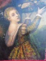 Emebellecedor, Antiguo Pintura __ Mujer Con Cesta de Fruta __ 80cm x 60cm __