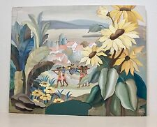 """34"""" Frederick Cooper Kupur Gouache Painting Tropical + Giant Sunflowers """"AS IS"""""""