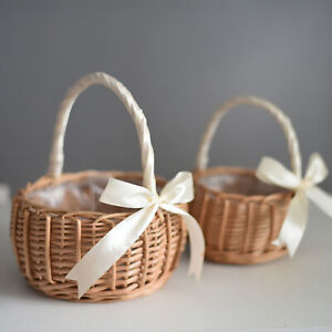 Bridesmaid Wedding Flower Girl Natural Lined Wicker Flower Pot  Candy Basket