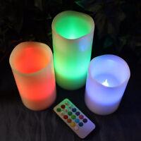 Ensemble de 3 bougies allumées à piles à LED changeantes de couleur_wf