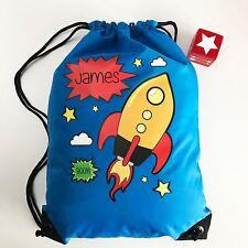 Personalised Drawstring Swimming, School, PE Bag Comic Strip Rocket for Boys