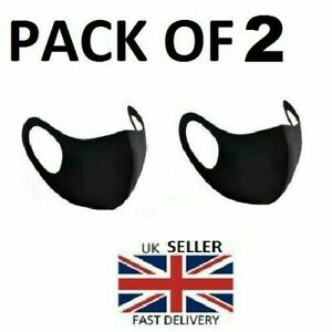 2 x Face Mask Protective Covering Washable Reusable Black Adult Unisex UK Stock