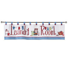 Laundry Room Décor Window Curtain Valance with Tab Top Button Design