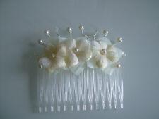 Bijou cheveux peigne robe de Mariée/Mariage/Soirée Fleur Ecru/Ivoire/Blanc cassé