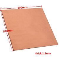 1.5mm*100mm*100mm 1PC 99.9% Pure Copper Cu Metal Sheet Plate