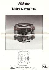 1981 NIKKOR f/1.4 50mm LENS INSTRUCTION MANUAL -NIKON SLR 35mm CAMERAS