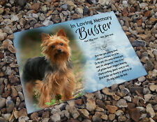 Personalised ceramic tile, headstone grave memorial plaque, Yorkshire Terrier