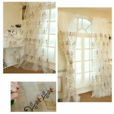 Chic Floral Embroidery Net Curtain Fabric Lace Tulle Sheer Panel Divider Country