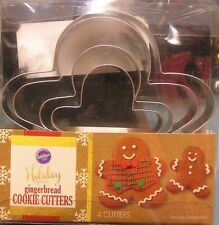 WILTON COOKIE CUTTER SET Gingerbread Man Family Metal 4 Pc NEW