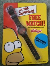 Vintage, Retro The Simpsons Watch by Kelloggs, dated 2002, sealed. Black Strap