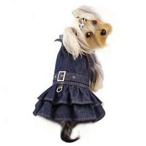KLIPPO PET DOG DARK BLUE JEAN DRESS WITH HARNESS SIZE L- BLUE MSRP $32.99