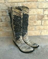 GIANNI BARBATO Embroidery Leather Pull On Western Tall Boots Women 40 EUR 8.5 US