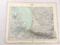 1898 Französisch Map Of Frankreich Paris Bordeaux Pyrenees 19th Century Antik