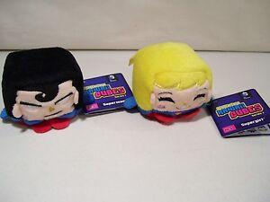 LOT OF 2 NEW DC COMICS SUPERMAN & SUPERGIRL KAWAII CUBES BEAN PLUSH SERIES 1