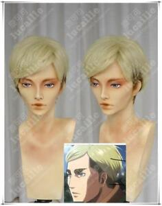 Attack on Titan Erwin Smith Short Blonde With Brown Anime Cosplay Wig-Free ship