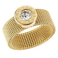 Ring Damen Strass Zirkonia Blogger Luxus Römische Ziffer Gold Band Elastisch
