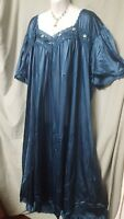 "Comfort Choice  ANKLE LENGTH DARK TEAL NYLON  NIGHTGOWN  SIZE 2X GIFT 60"" BUST"