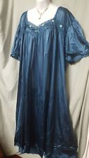 """Comfort Choice  ANKLE LENGTH DARK TEAL NYLON  NIGHTGOWN  SIZE 2X GIFT 60"""" BUST"""